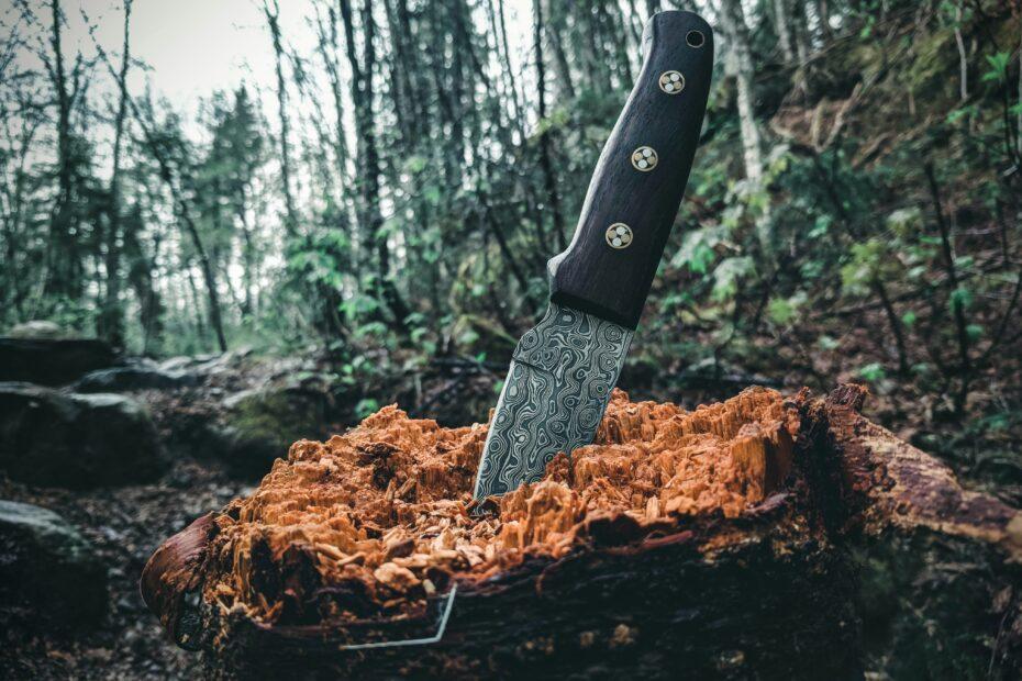 black handled knife on brown log